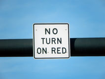 No turn on red sign over a blue sky Stock Photo