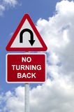 No Turning Back sign in the sky Royalty Free Stock Photography
