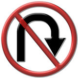 No u turn. The Symbol for the way that can not u turn Royalty Free Stock Photos
