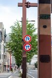 No u-turn and no right turn sign on the street in Japan. No u-turn and no right turn sign on the urban street in Japan royalty free stock photography