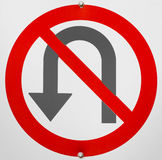 No U Turn Sign Stock Images