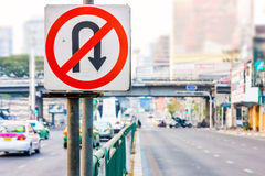 No U-Turn traffic sign Royalty Free Stock Photo
