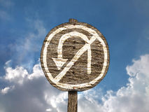 No U-turn Wood Road Sign With Background Royalty Free Stock Photo