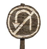No U-turn Wood Road Sign (Isolated) Stock Photo