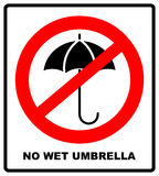 No Umbrella with water drops. Rain protection symbol.No Flat design style. Royalty Free Stock Images