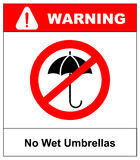 No Umbrella with water drops. Rain protection symbol.No Flat design style. Royalty Free Stock Photography