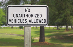 No Unauthorized Vehicles Royalty Free Stock Photography