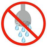 No usando el agua permitida stock de ilustración