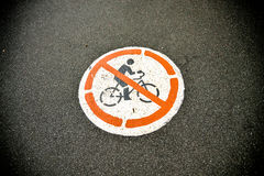 No use bicycle sign on the road. 1 Royalty Free Stock Photos