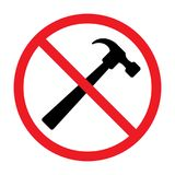 No use a hammer icon, vector illustration. Isolated on white background Stock Image