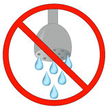 No using water allowed. No showering or using water allowed - conservation - vector Stock Photography