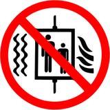 No utilice el elevador en caso del fuego, muestra de la prohibición del terremoto stock de ilustración