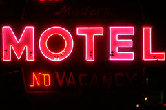 No Vacancies. Motel sign at night partially burned out Royalty Free Stock Photo