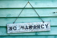 No Vacancy. Sign hanging from rental property in Florida royalty free stock photography