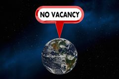 No Vacancy Earth Planet Overcrowded Population Sign 3d Illustration Stock Image