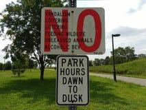 Park Rules, Richard A. Rutkowski Park, Bayonne, NJ, USA. No vandalism, loitering, littering, feeding wildlife, unleashed animals, or alcoholic beverages by order royalty free stock images