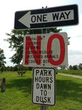 Rules and Park Hours, Richard A. Rutkowski Park, Bayonne, NJ, USA. No vandalism, loitering, littering, feeding wildlife, unleashed animals, or alcoholic stock photo