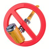 No vaping concept, forbidden sign with electronic pipe, e-pipe. vector illustration