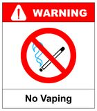No vaping sign. Do not smoke electronic cigarette symbol. Vector illustration isolated on white. Warning forbidden red icon for pu Stock Photo