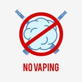 No Vaping Sign. No vaping sign on a white background. This E-cigarette icon is used to demonstrate a vaping ban Royalty Free Stock Image