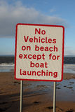 No vehicle on beach sign. Royalty Free Stock Images