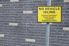 No vehicle idling sign on road street to reduce vehicle emissions fixed penalty regulations Scotland. 2003 stock images