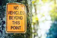 No vehicles beyond this point sign Royalty Free Stock Photos