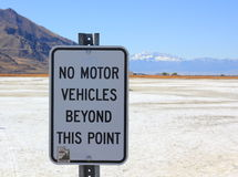 No Vehicles sign Great Salt Lake in Utah Royalty Free Stock Images