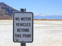 No Vehicles sign Great Salt Lake in Utah Royalty Free Stock Images