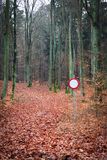 No vehicles traffic sign in forest Stock Images