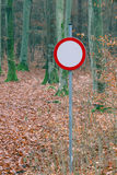 No vehicles traffic sign in forest Stock Photo