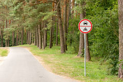 No vehicles traffic sign in forest Royalty Free Stock Images