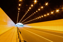 No vehicular tunnel. No vehicles by Bright lights  tunnel Stock Image
