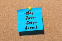 No verão passado mês - começo de agosto Golpeado maio, junho, julho Fotografia de Stock