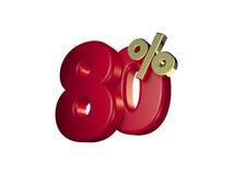 80% no vermelho e no ouro Fotos de Stock Royalty Free