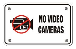 No video cameras rectangle sign Royalty Free Stock Photo