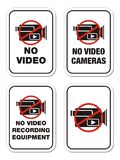 No video cameras signs Stock Photo