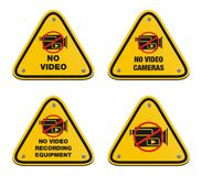 No video cameras signs - triangle signs Royalty Free Stock Images