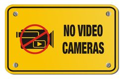 No video cameras yellow sign - rectangle sign Stock Photos