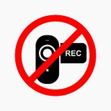 No video prohibition sign. No photo or camera royalty free illustration