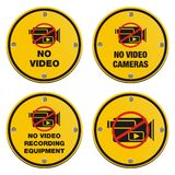 No video recording eqipment signs - cyrcle sign Stock Image