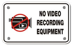 No video recording equipment rectangle sign Stock Image