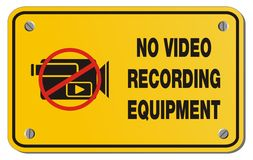 No video recording equipment yellow sign - rectangle sign Royalty Free Stock Photo