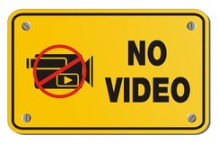 No video yellow sign - rectangle sign Stock Photo