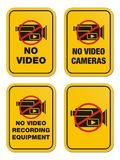 No video yellow signs Stock Photo