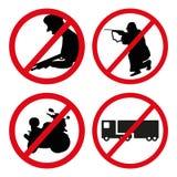 No violence, no shooting, no motorbike, no truck forbidden signs. Set of forbidden actions. Stock Images