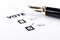 No for Vote Stock Photo