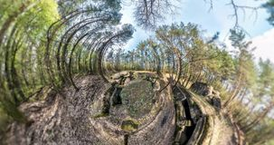 NO VR. Little planet Transformation with curvature of space. full flyby panorama with rise up into the sky of landscape on rocks i stock video
