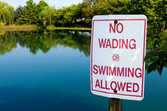 No Wading in Pond Royalty Free Stock Images