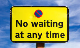 No Waiting at any time Sign Stock Image